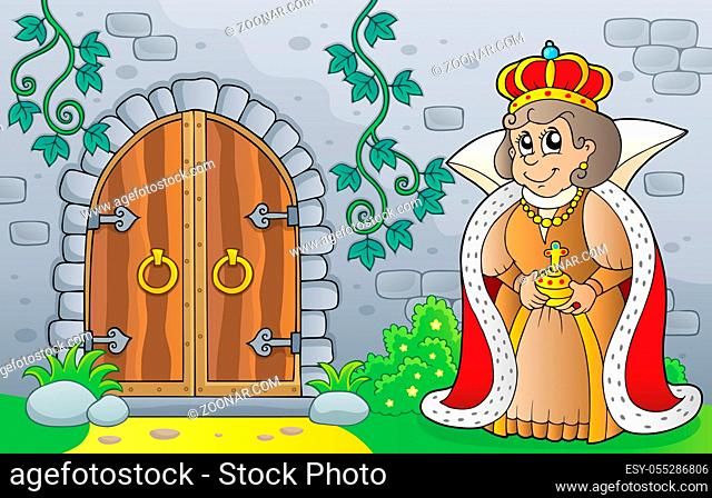 Queen by old door theme image 1 - picture illustration