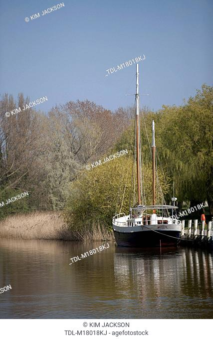 A boat moored on the River Stour, Sandwich, Kent, United Kingdom