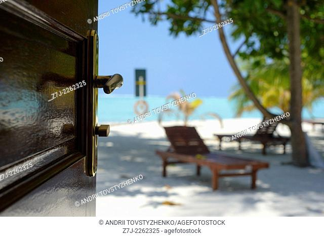 view of the beach from the bungalows, Maldives