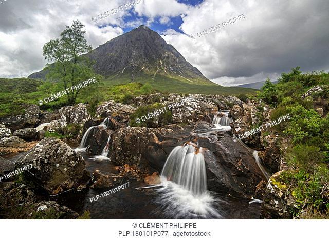 The Scottish mountain Buachaille Etive Mòr in Glen Etive near Glencoe in the Highlands of Scotland, UK