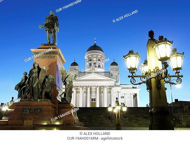 The Lutheran cathedral is located in the centre of Helsinki on Senate Square and was built between 1830 and 1852. The statue is of Emperor Alexander II of...