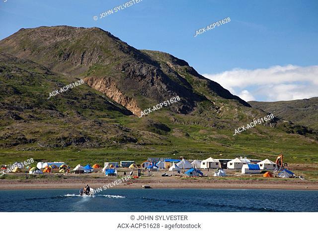 Kangidluasuk, Parks Canada and Labrador Inuit Development Corporation base camp, Saglek Bay, Labrador, Canada