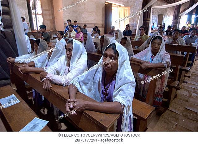 "The ladies of """"hermanidad de Santa Ana"""" attending the mass. Bolivia"