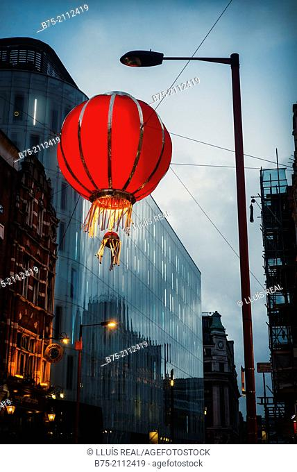 Closeup of chinese red lantern at sunset in China Town, Soho, London, England, UK, Europe