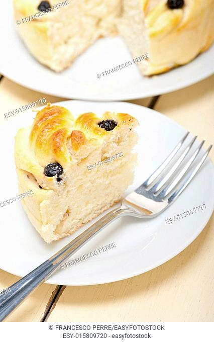 fresh home baked blueberry bread cake dessert over white wood table