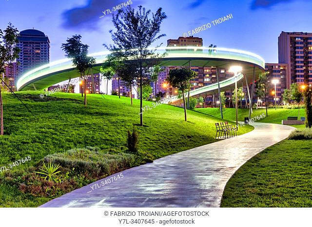 Illuminated bridge in Central Park , Baku, Azerbaijan