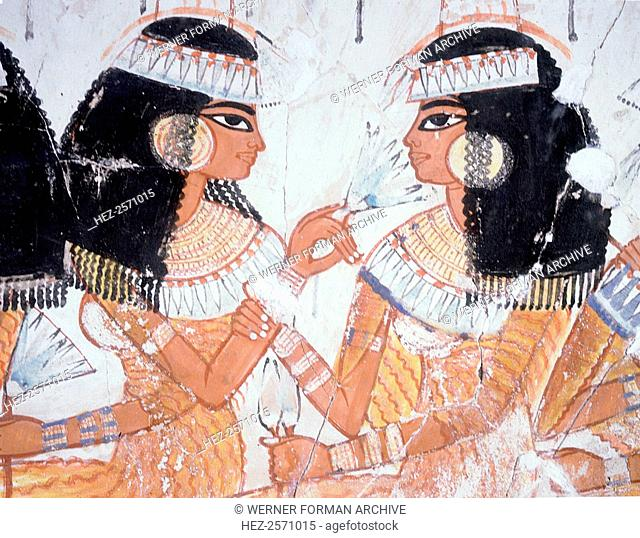 A detail of a wall painting from the tomb of Nebamun depicting women guests at a banquet. The women wear elaborate gowns
