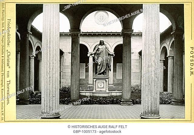 Europe, Germany, Brandenburg, Potsdam, Friedenskirche, ( Church of Peace ) , the statue of Christ by Thorwaldsen, image from : Potsdam ( leporello book )