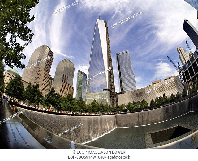 A fisheye view of the new One World Trade Centre and Memorial Fountain at Ground Zero