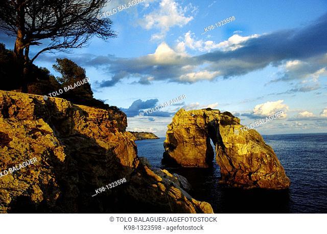 Es Pontas rock, Migjorn, Santanyi, Majorca, Balearic Islands, Spain