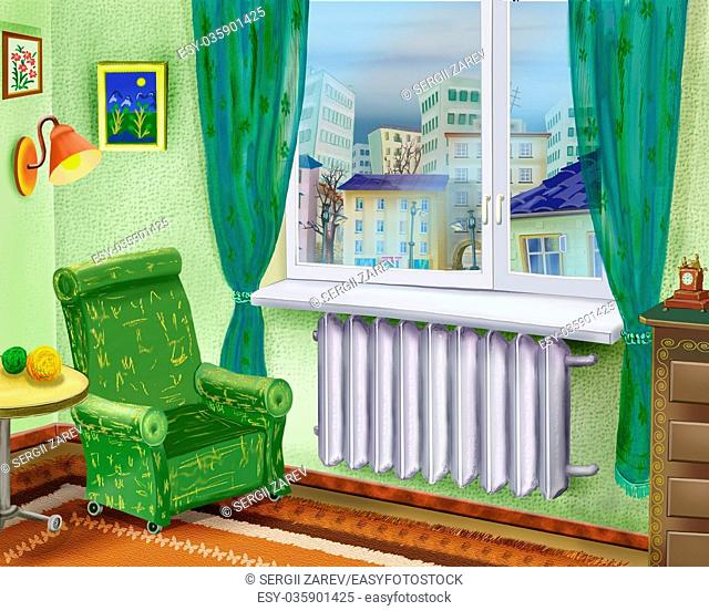 Digital Painting, Illustration of a Cartoon Room Interior with Armchair Near a Window and summer city landscape in the window