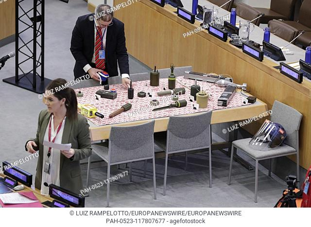 """United Nations, New York, USA, March 01, 2019 - Delegates speak with staff members from the United Nations Mine Action Service (UNMAS) at the event """"""""A World..."""