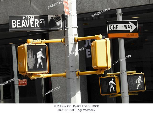 New York City, US. Beaver street sign and traffic indications: Lower Manhattan