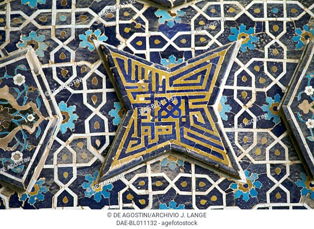Polychrome tile decoration, Jameh Mosque (Friday mosque) (Unesco World Heritage List, 2012), Isfahan (Esfahan). Iran, 12th century