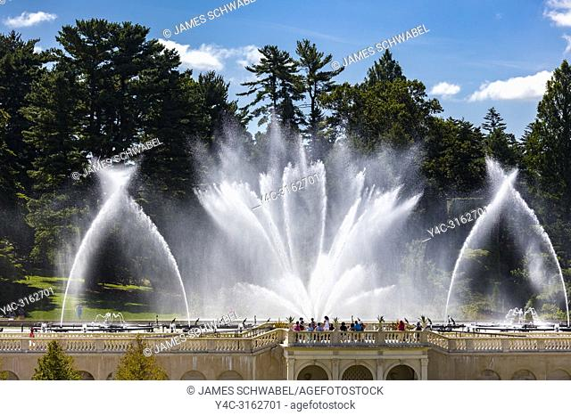 Fountain show the in Main Fountain Garden at Longwood Gardens in Kennett Square Pennsylvania United States