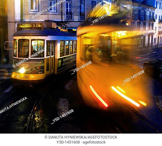 one evening in Lisbon, Portugal, famous trams