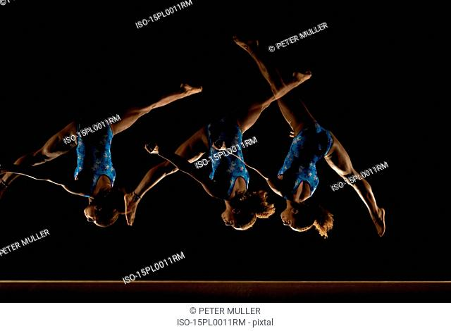 multiple images of gymnast on a beam