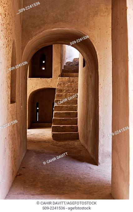 Internal view of alleyway and steps leading to roof terrace located within Rustaq Fort, Rustaq, Al Batinah South Governorate, Oman