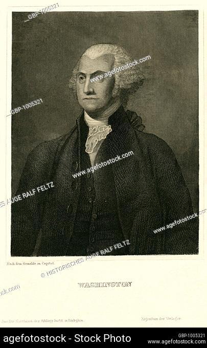 Amerika, Vereinigte Staaten von Amerika, USA, Virginia, Wakefield, George Washington, Präsident der USA, Stahlsich der Kunstanstalt des Bibliographischen...