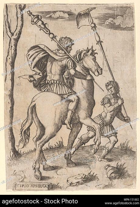 Scipio Africanus on horseback preceeded by a foot soldier holding a standard. Artist: Marcantonio Raimondi (Italian, Argini (?) ca