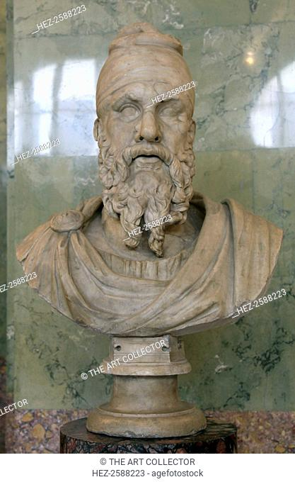 Roman bust of a Dacian tarabostes (nobleman), early 2nd century. A fragment of a monumental statue of a Dacian prisoner from Trajan's Forum in Rome