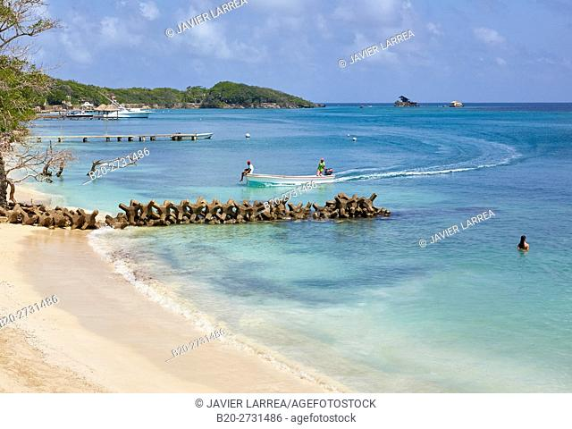 Caribbean Sea beach, Isla Grande, Rosario Islands, Cartagena de Indias, Bolivar, Colombia, South America