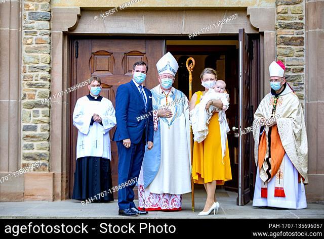Prince Guillaume, Grand Duke Hereditary and Princess Stephanie, Grand Duchess Hereditary and Prince Charles of Luxemburg arrive at the Abbaye Saint-Maurice in...