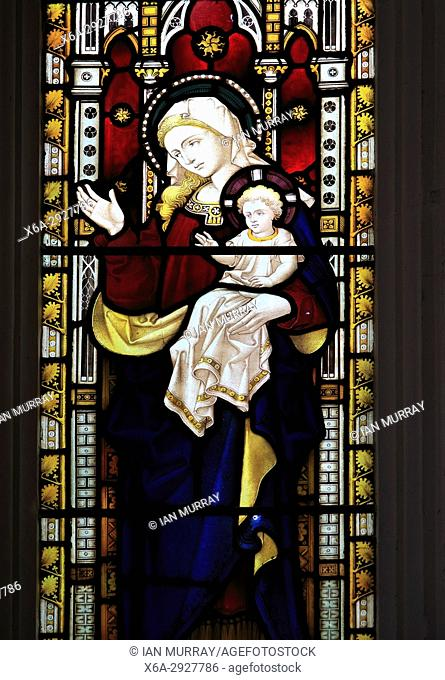 Church of Saint Peter, Charsfield, Suffolk, England, UK stained glass window Blessed Virgin Mary and baby Jesus
