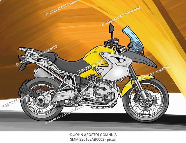 Dark yellow super enduro motorbike