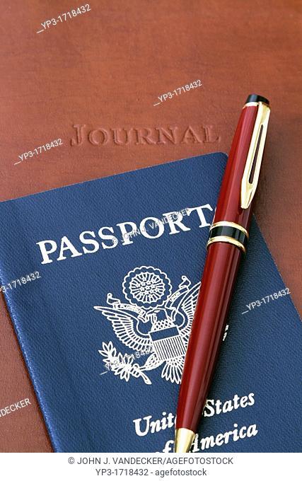 Travel Memories  Still-life of a Journal, Passport and Pen