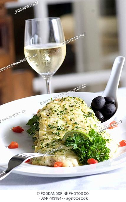 Lemon Sole with Olives and White Wine