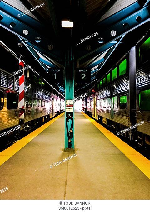 Platform between Track 1 and 2, Ogilvie Transportation Center, Chicago, Illinois
