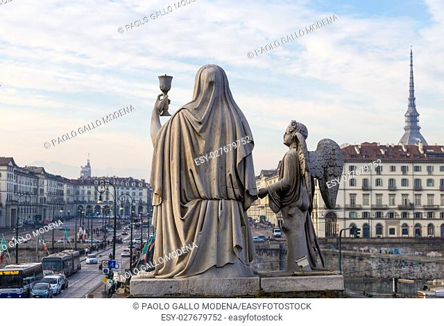 Faith Statue with the Holy Graal - located in front of Gran Madre Church