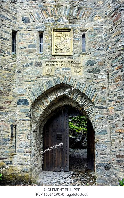 Entrance gate to Eilean Donan Castle, Ross and Cromarty, Western Highlands of Scotland, UK