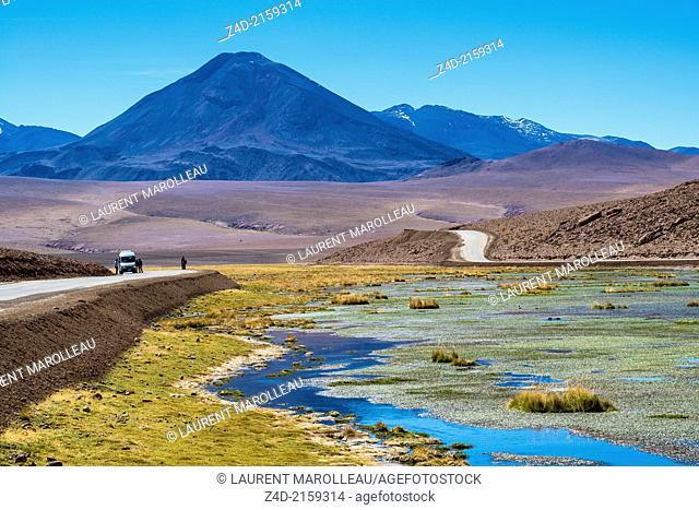 Putana River and Volcano mountain Range. Salar de Atacama, San Pedro de Atacama, Antofagasta Region, Atacama Desert, Chile, South America