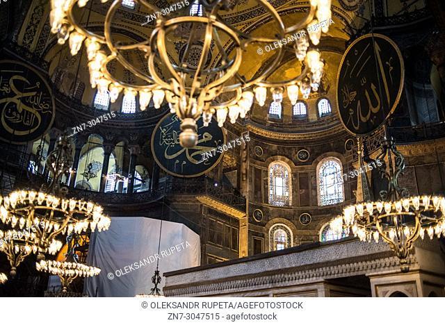 Interior view of Hagia Sophia in Istanbul, Turkey