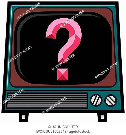 Questionmark in a TV