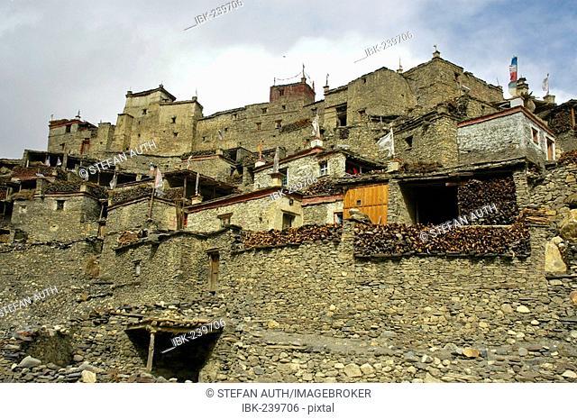 Nested houses of Phu Nar-Phu Annapurna Region Nepal