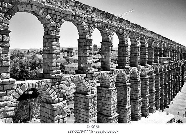 Ancient aqueduct of roman in Segovia, Spain