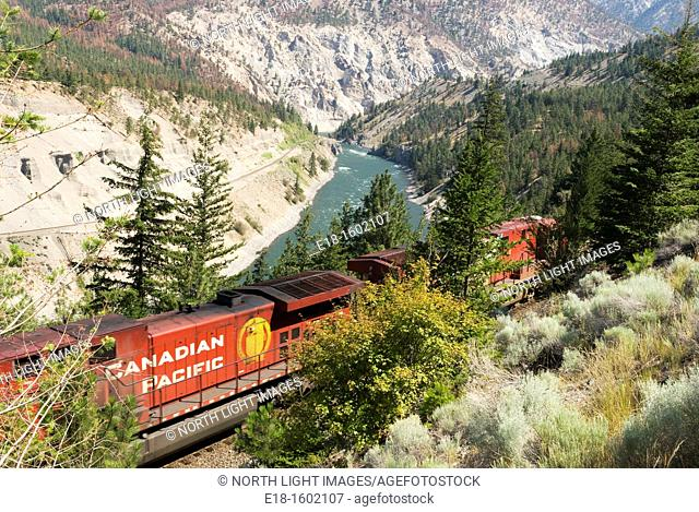 Canada, BC, Lytton  CP Rail Freight train in the Thompson River Canyon