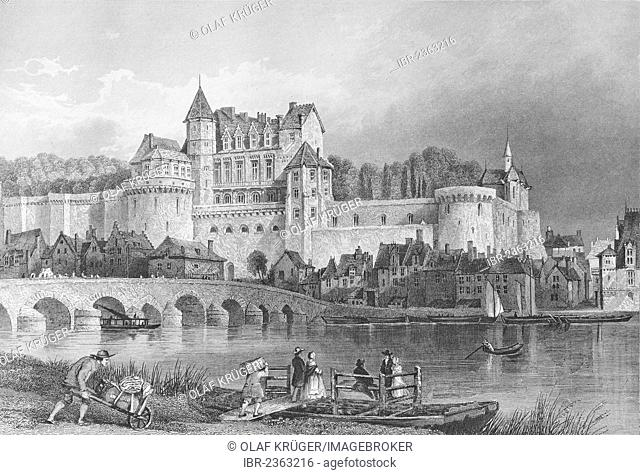 Chateau d'Amboise castle, Indre-et-Loire department, Pays de la Loire region, France, historic illustration, steel engraving by J.H. Le Keux after T