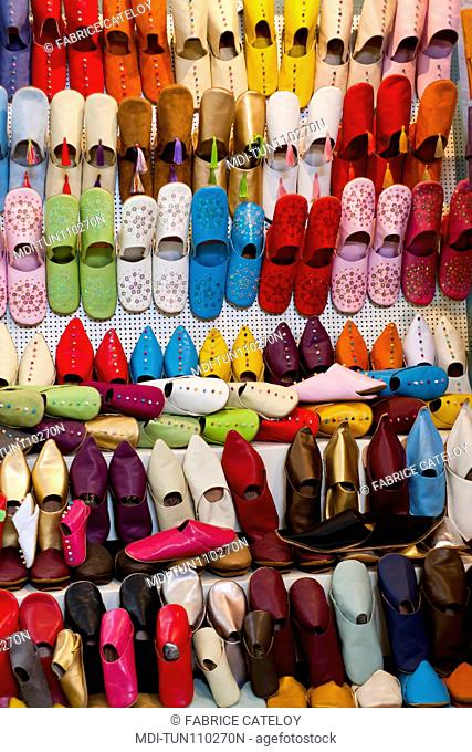 Tunisia - Tunis - Turkish slipper shop in the souks of the medina