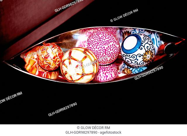 Decorative balls on a tray