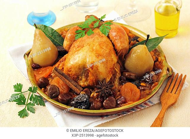 Roasted chicken with honey and nuts