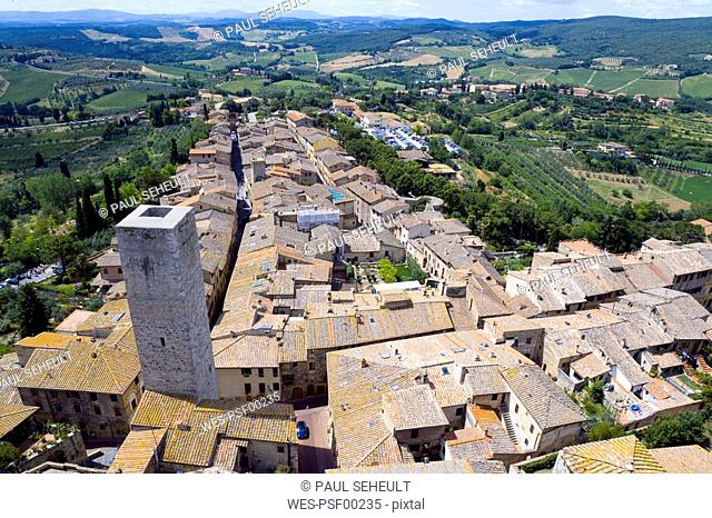 Italy, Tuscany, San Gimignano, Rooftops, elevated view