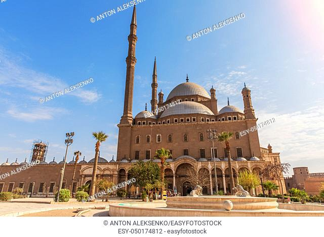 Alabaster Mosque in Cairo, beautiful day view