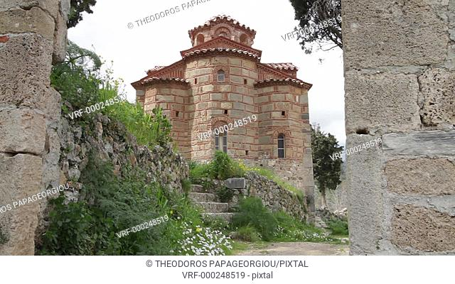 The Evaggelistria byzantine church (Annunciation). Mystras. Laconia, Peloponnese. Greece