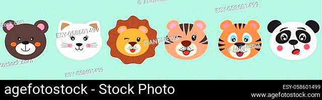 Cute cartoon characters animals bear, cat, lion, tiger and panda. Modern poster for prints, kids cards, t-shirts and other. Vector illustration