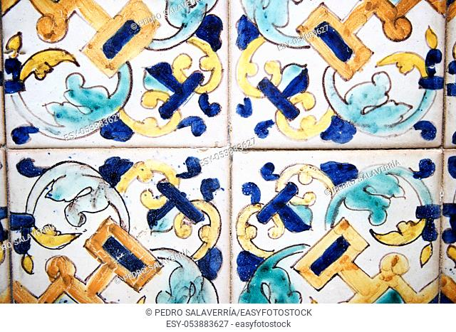 Background created by a tiled wall in Cordoba, Andalusia, Spain