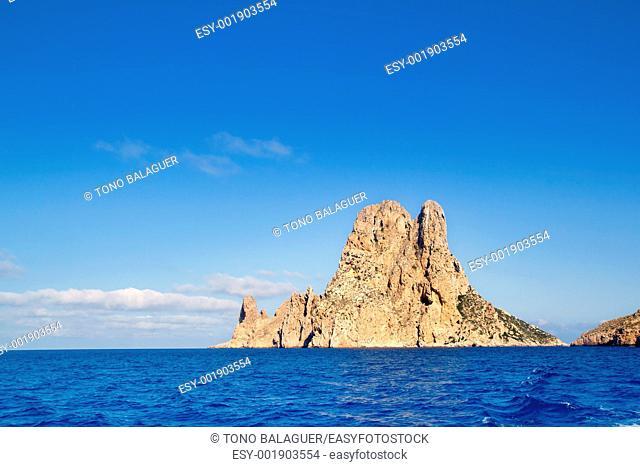 Es Vedra islet island in blue Mediterranean Spain